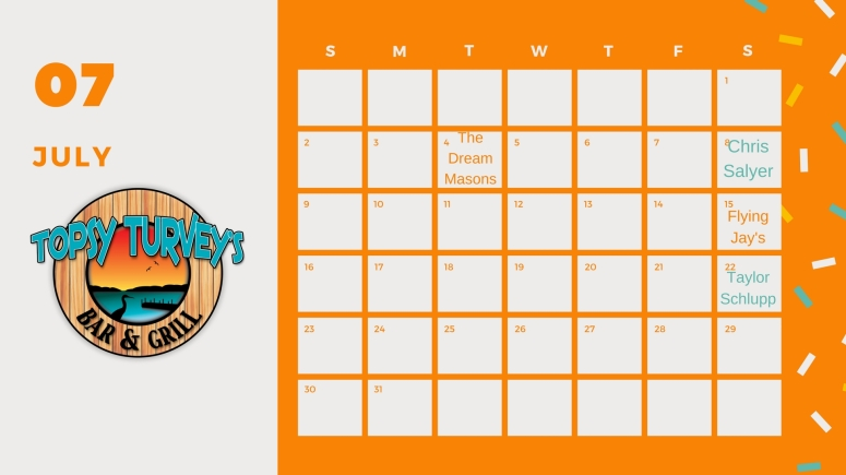 Topsy July Calendar